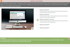 Plantilla de ejercicio con selección simple y feedback personalizado de la plataforma e-learning