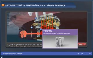 Ejemplo pantalla con vídeo interactivo con puntos calientes SCORM con Articulate Storyline
