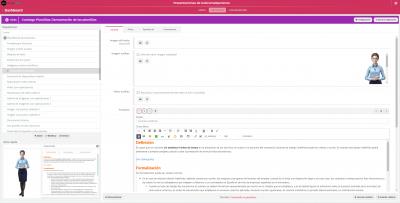 Edición en la herramienta de autor de una diapositiva de un curso e-learning