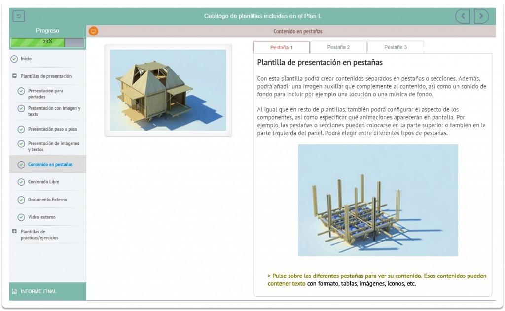 Ejemplo de la plataforma elearning en equipos de escritorio