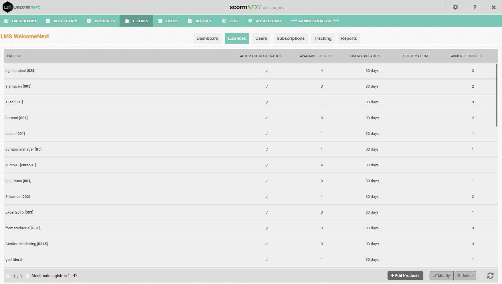 Client management on the scorm-NEXT platform